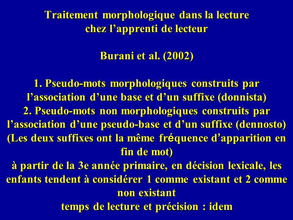 Traitement morphologique dans la lecture chez l'apprenti de lecteur Burani et al.