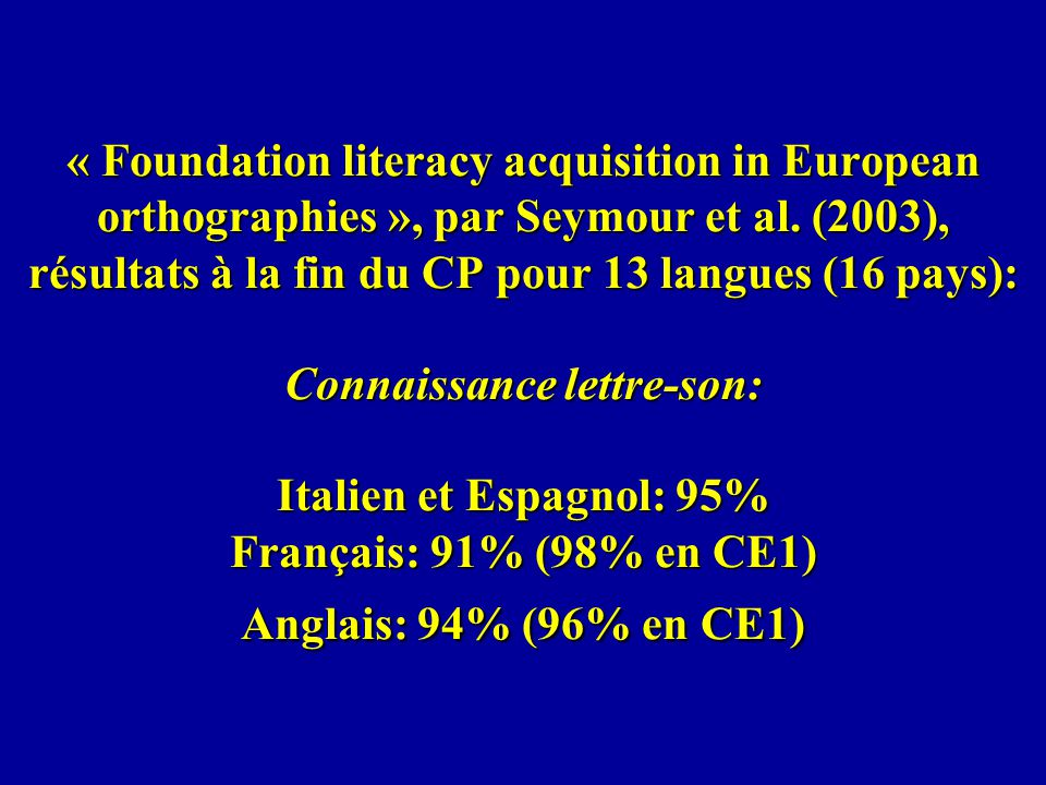 « Foundation literacy acquisition in European orthographies », par Seymour et al.