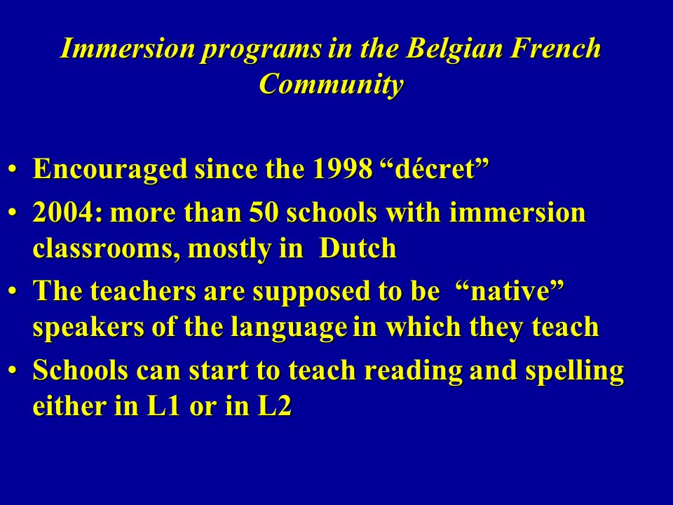 Immersion programs in the Belgian French Community