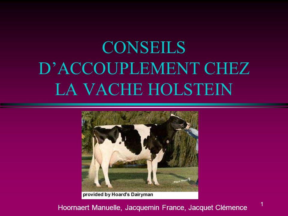 CONSEILS D'ACCOUPLEMENT CHEZ LA VACHE HOLSTEIN