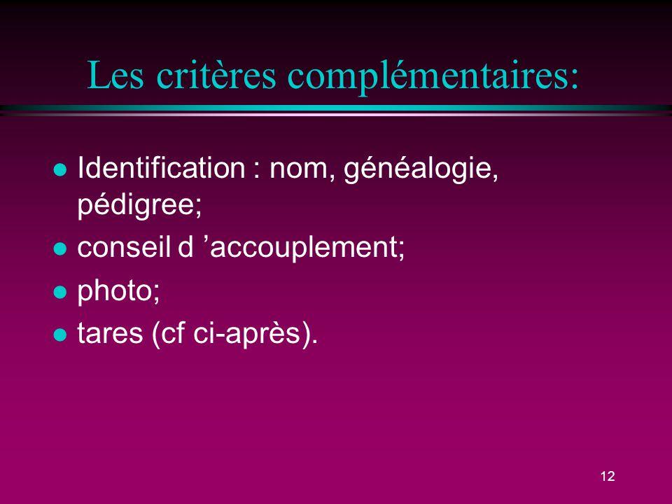 Les critères complémentaires:
