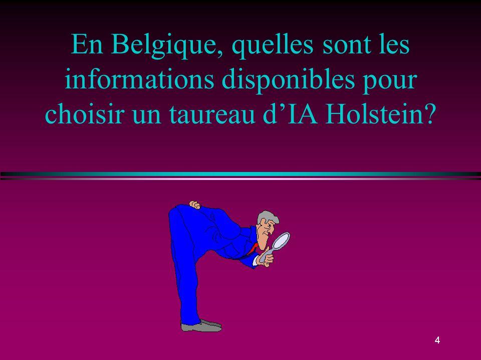En Belgique, quelles sont les informations disponibles pour choisir un taureau d'IA Holstein