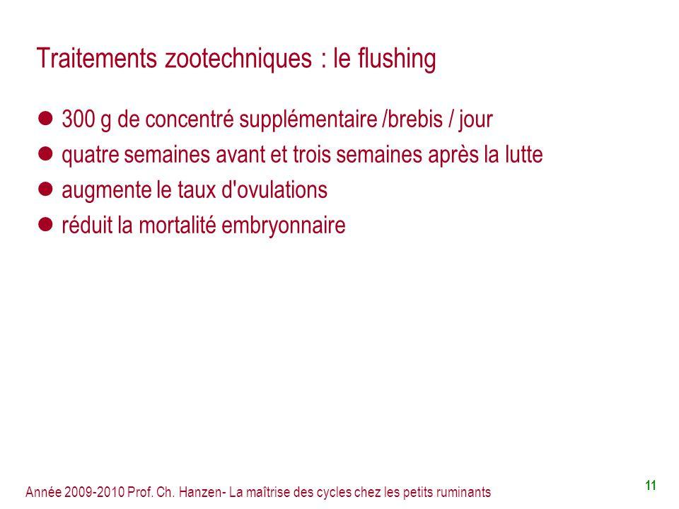 Traitements zootechniques : le flushing