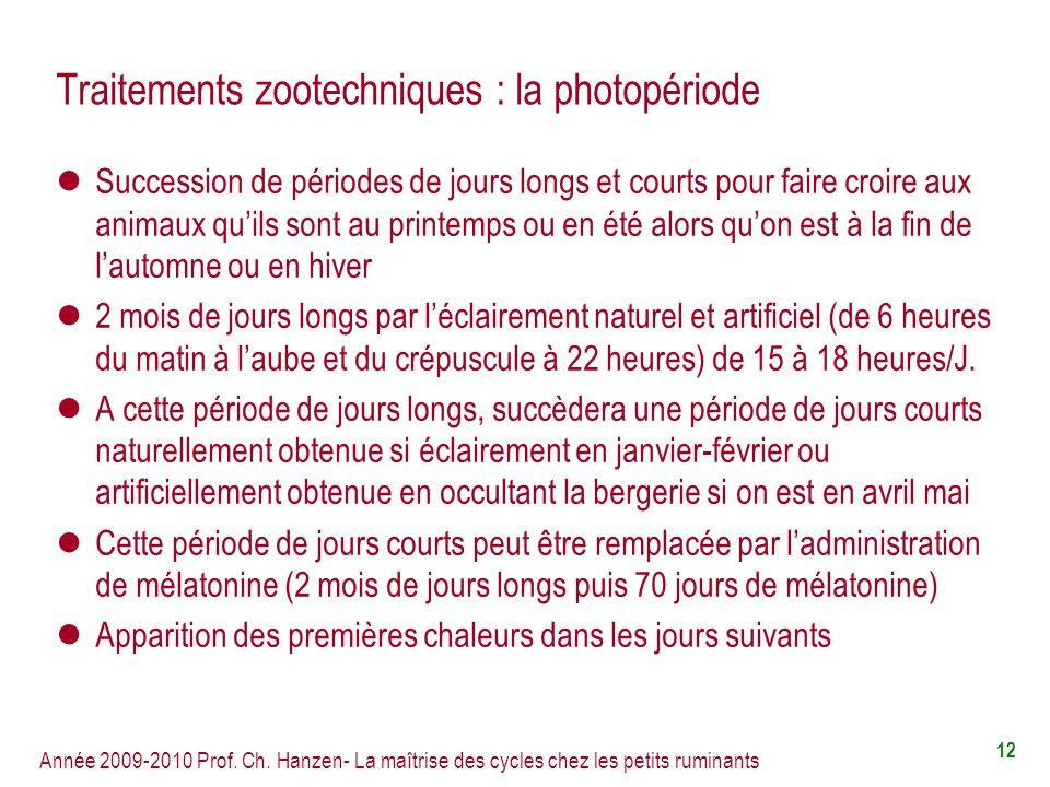 Traitements zootechniques : la photopériode