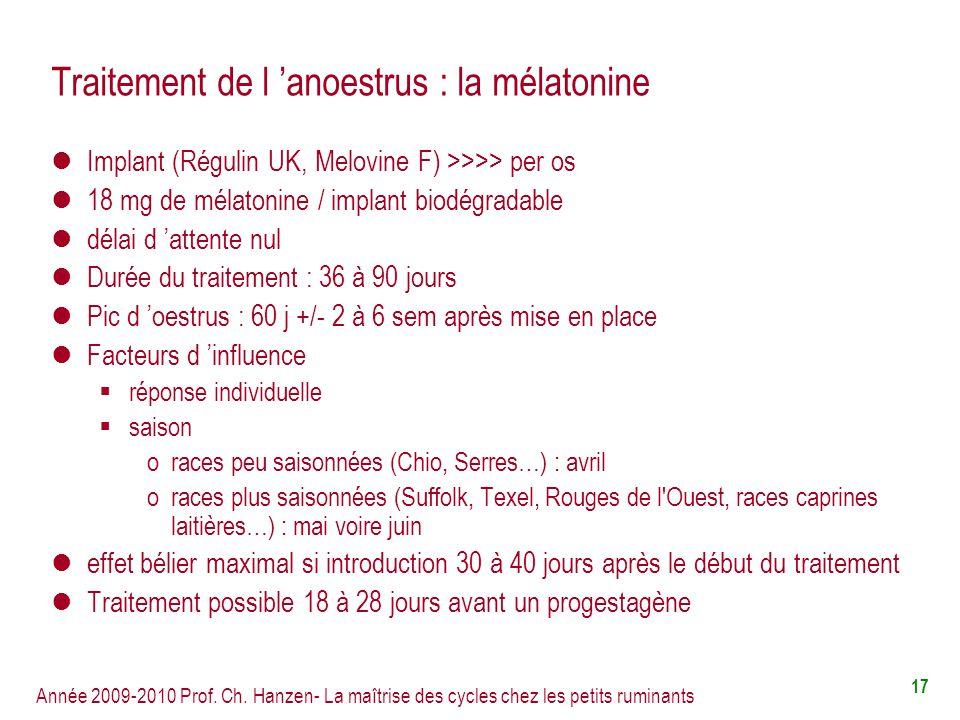 Traitement de l 'anoestrus : la mélatonine