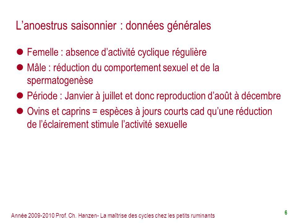 L'anoestrus saisonnier : données générales