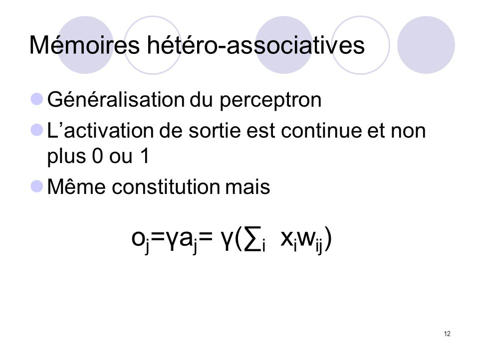 Mémoires hétéro-associatives
