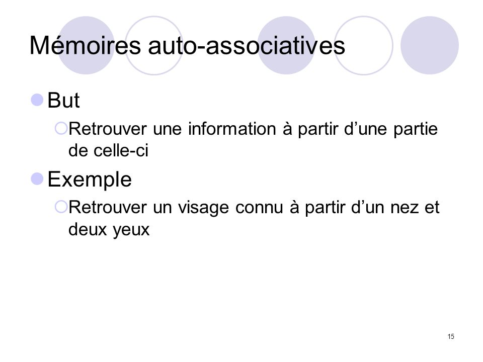 Mémoires auto-associatives