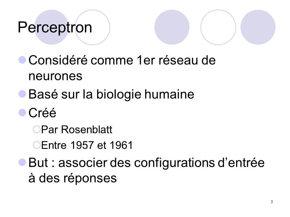 Perceptron Considéré comme 1er réseau de neurones
