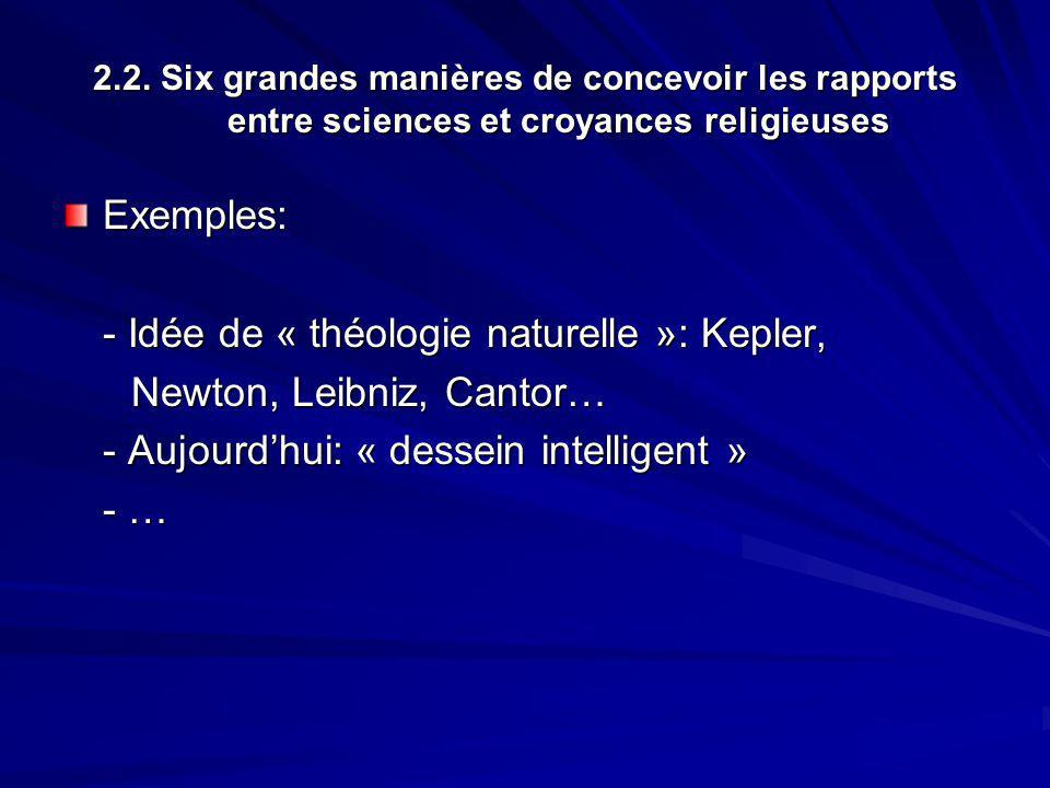 - Idée de « théologie naturelle »: Kepler, Newton, Leibniz, Cantor…