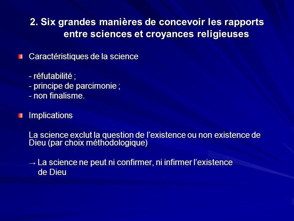 2. Six grandes manières de concevoir les rapports entre sciences et croyances religieuses