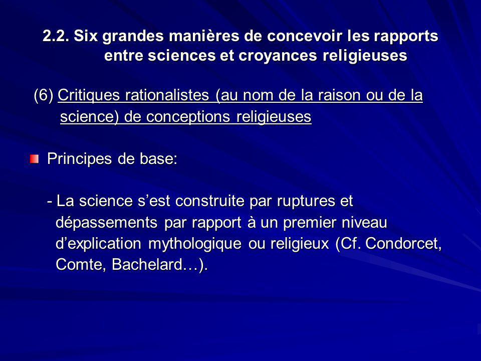 2.2. Six grandes manières de concevoir les rapports entre sciences et croyances religieuses