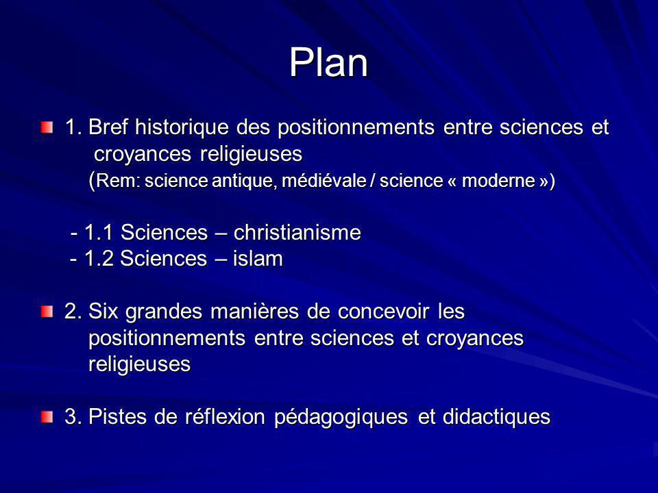 Plan 1. Bref historique des positionnements entre sciences et