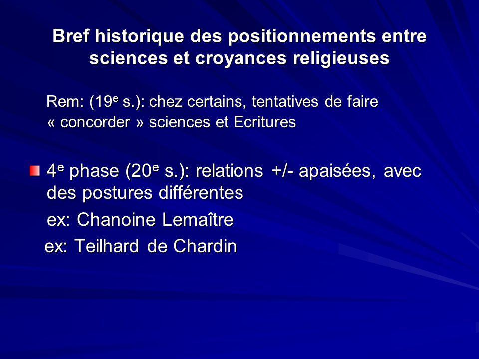 Bref historique des positionnements entre sciences et croyances religieuses