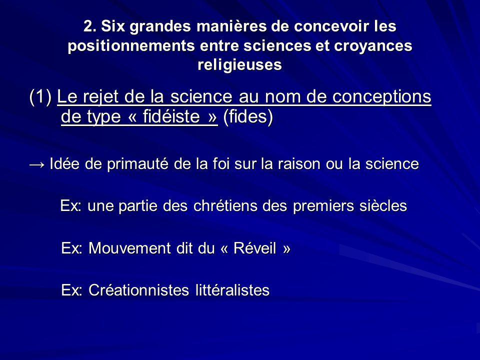 2. Six grandes manières de concevoir les positionnements entre sciences et croyances religieuses