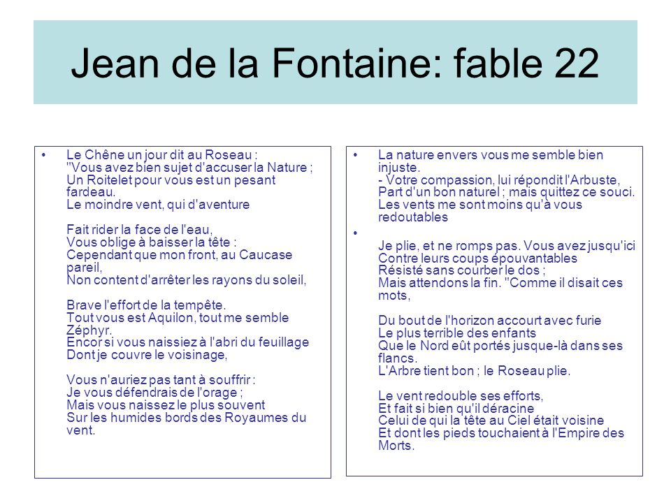 Jean de la Fontaine: fable 22
