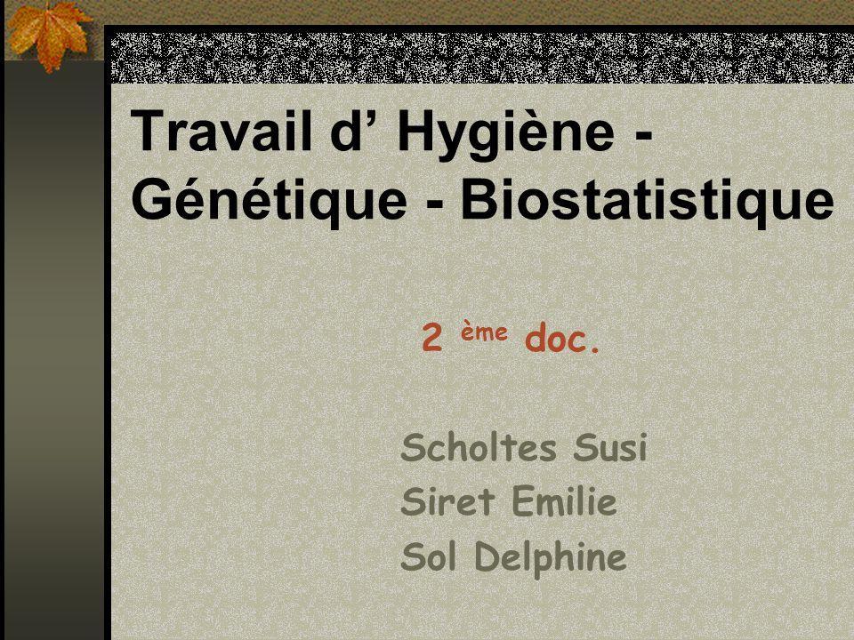 Travail d' Hygiène - Génétique - Biostatistique