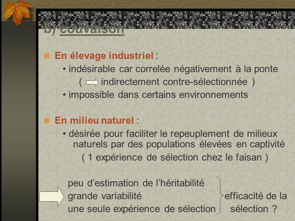 b) couvaison En élevage industriel :