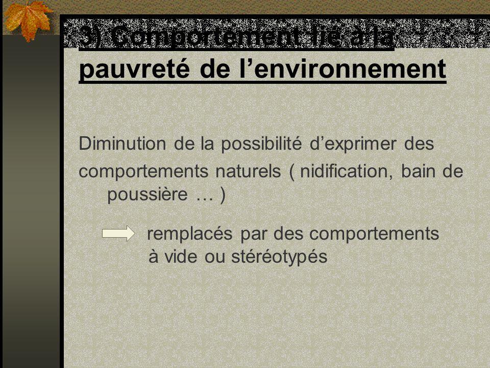 3) Comportement lié à la pauvreté de l'environnement