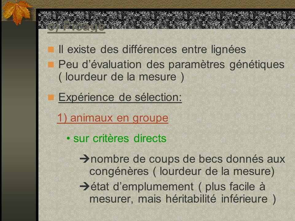 c) Picage Il existe des différences entre lignées