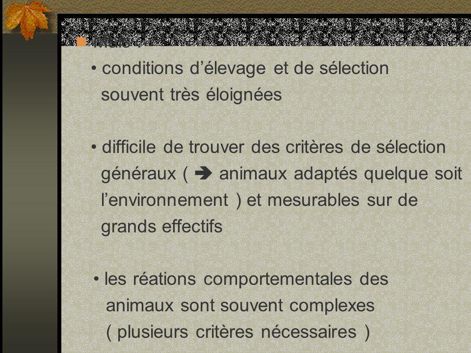 Mais : • conditions d'élevage et de sélection. souvent très éloignées. • difficile de trouver des critères de sélection.