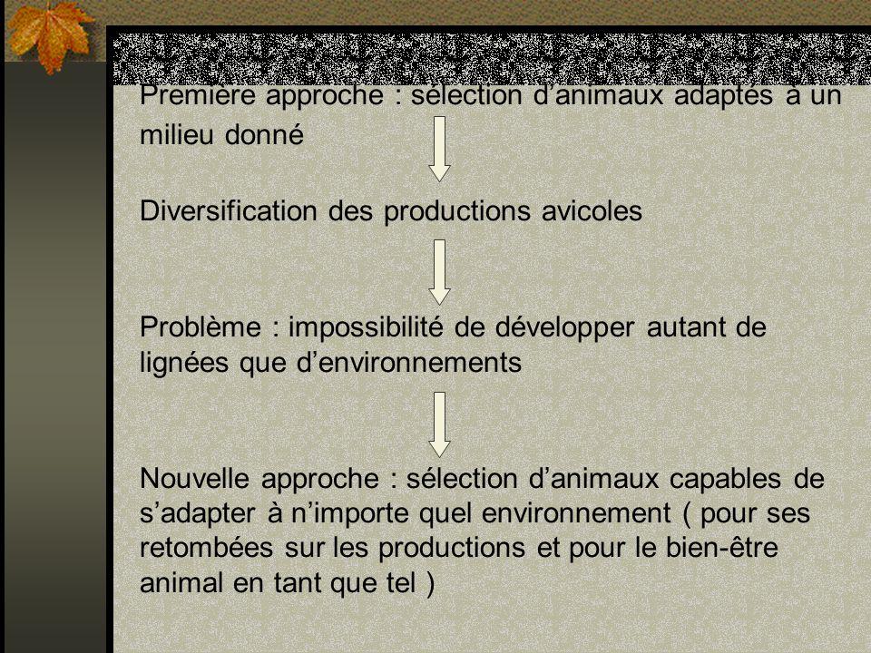 Première approche : sélection d'animaux adaptés à un milieu donné Diversification des productions avicoles Problème : impossibilité de développer autant de lignées que d'environnements Nouvelle approche : sélection d'animaux capables de s'adapter à n'importe quel environnement ( pour ses retombées sur les productions et pour le bien-être animal en tant que tel )