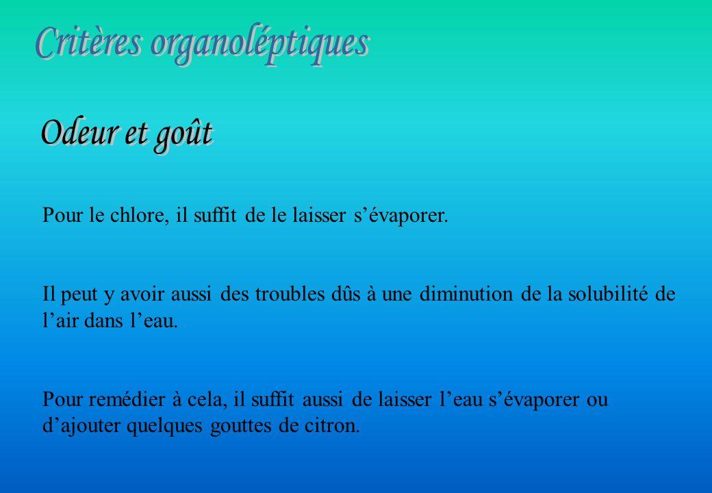 Critères organoléptiques