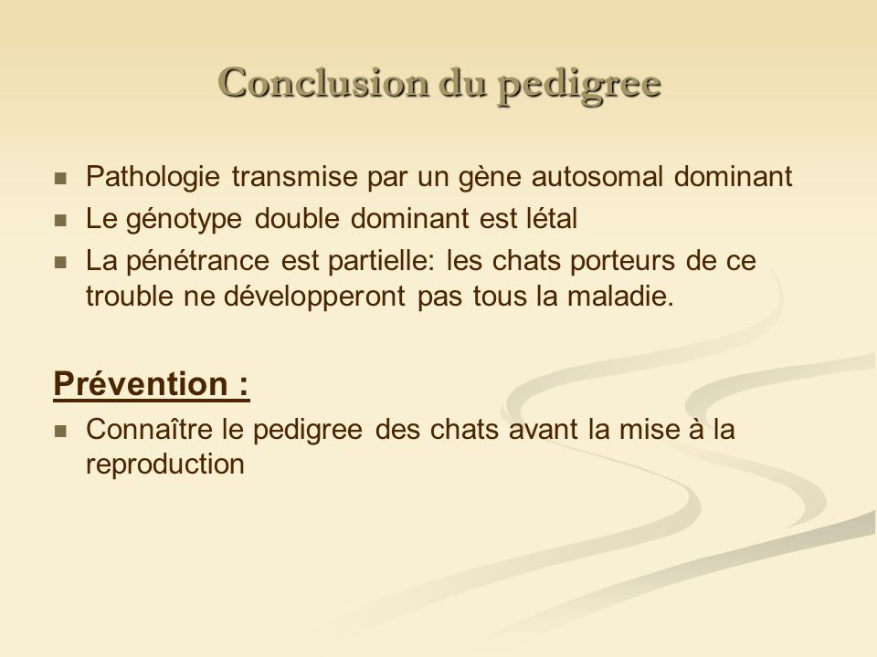 Conclusion du pedigree