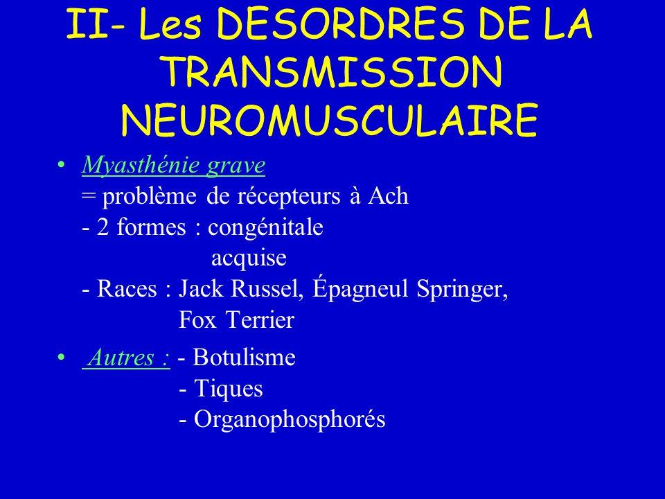 II- Les DESORDRES DE LA TRANSMISSION NEUROMUSCULAIRE