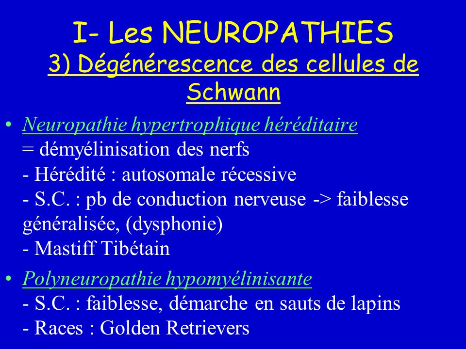 I- Les NEUROPATHIES 3) Dégénérescence des cellules de Schwann