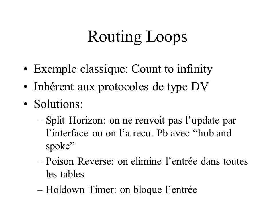 Routing Loops Exemple classique: Count to infinity