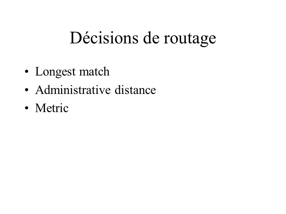 Décisions de routage Longest match Administrative distance Metric