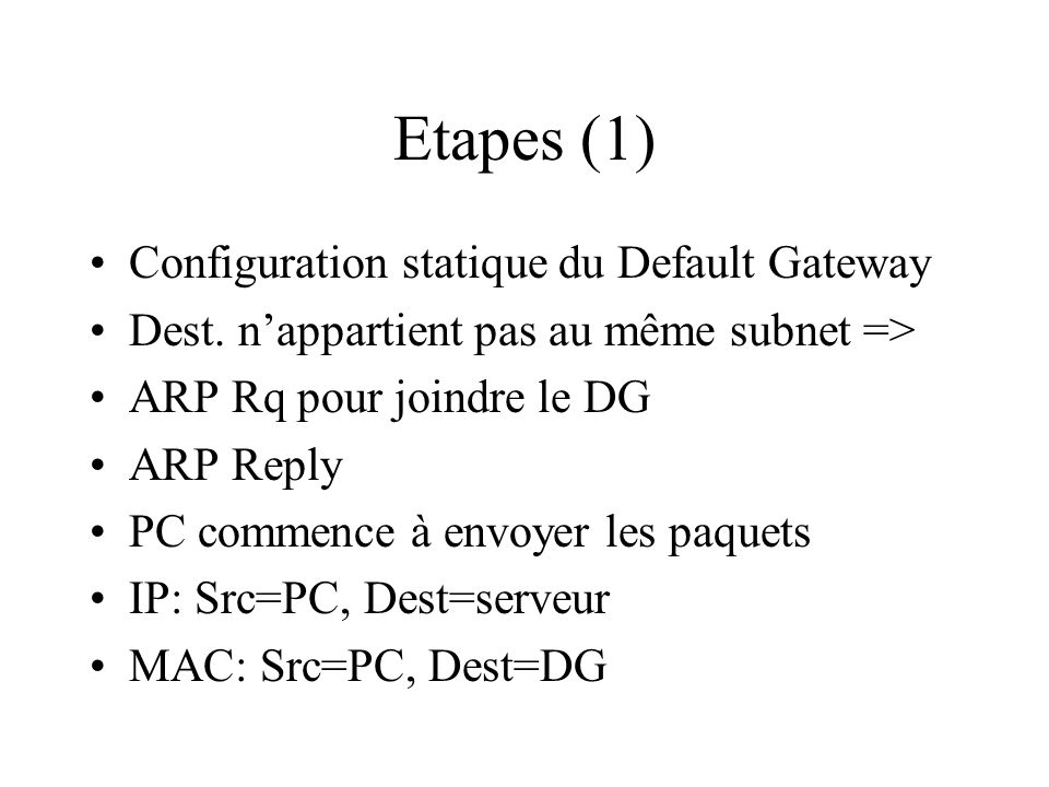 Etapes (1) Configuration statique du Default Gateway