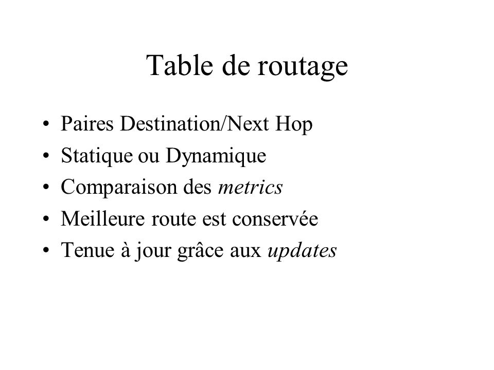 Table de routage Paires Destination/Next Hop Statique ou Dynamique