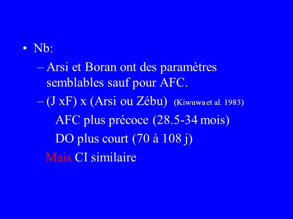 Nb: Arsi et Boran ont des paramètres semblables sauf pour AFC. (J xF) x (Arsi ou Zébu) (Kiwuwa et al. 1983)