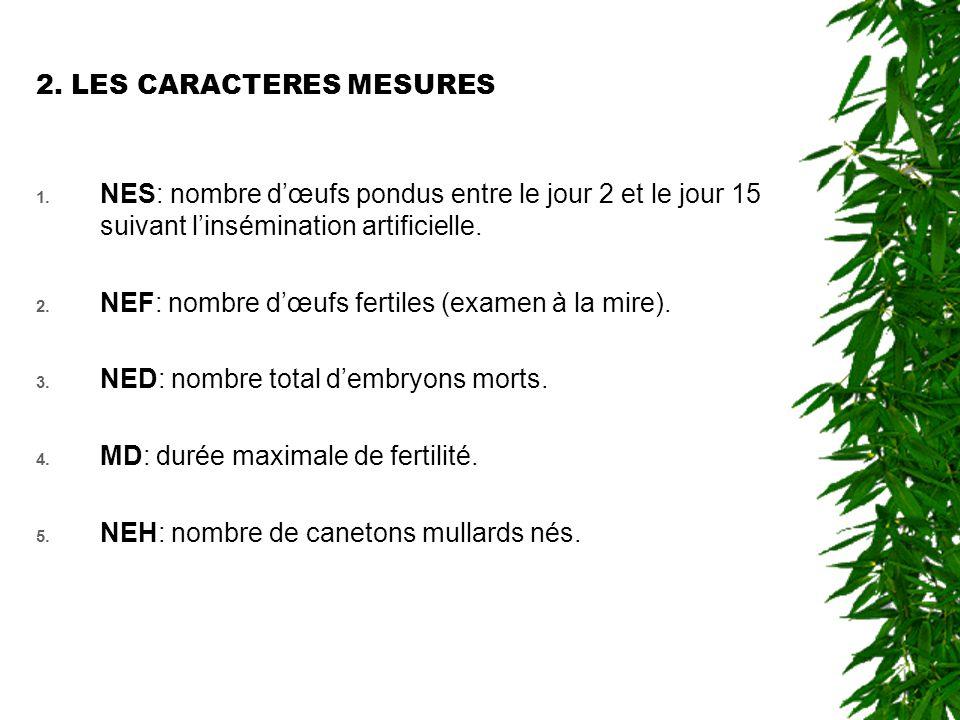 2. LES CARACTERES MESURES