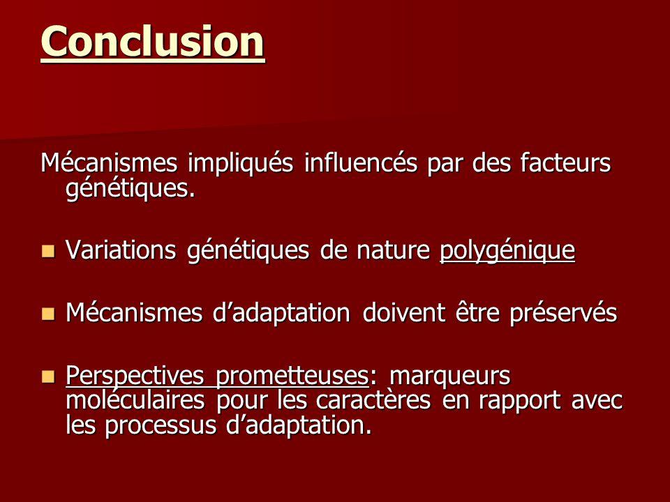 Conclusion Mécanismes impliqués influencés par des facteurs génétiques. Variations génétiques de nature polygénique.