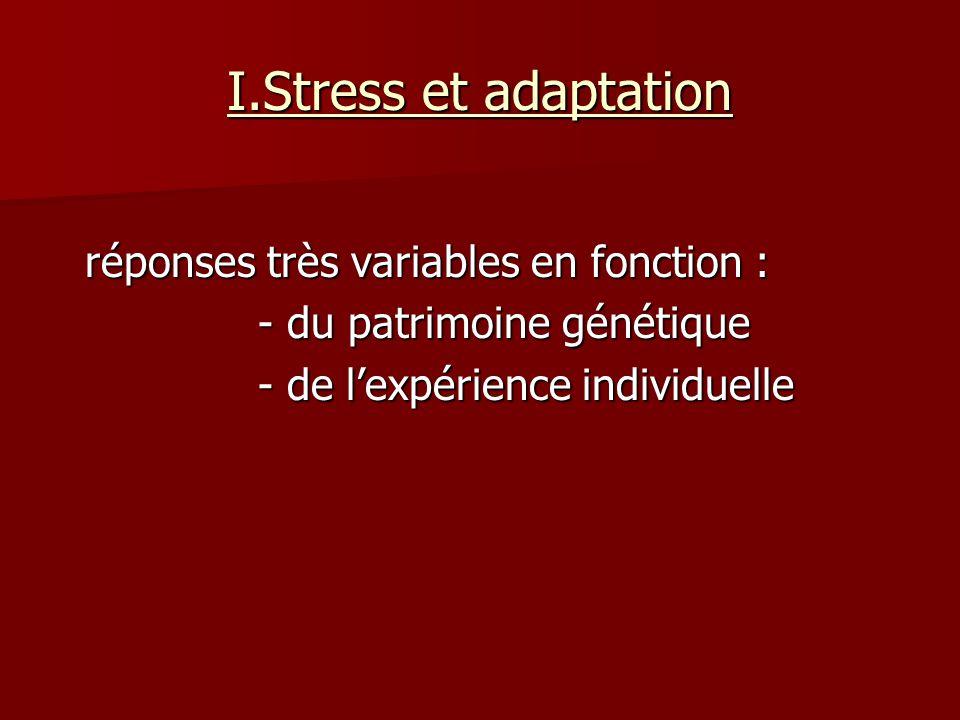 I.Stress et adaptation réponses très variables en fonction :
