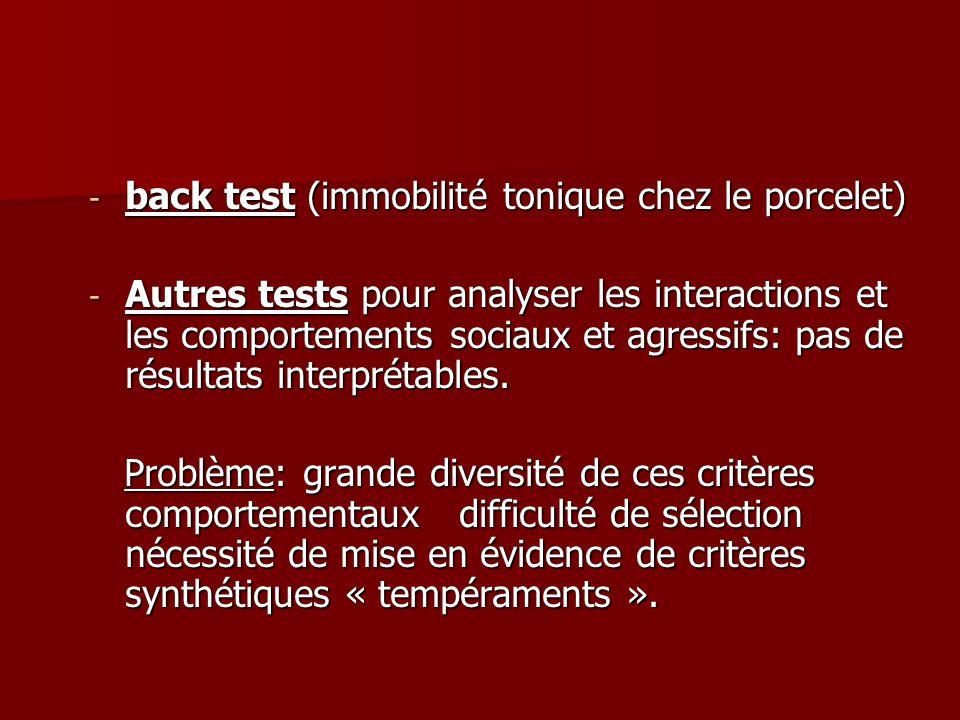 back test (immobilité tonique chez le porcelet)