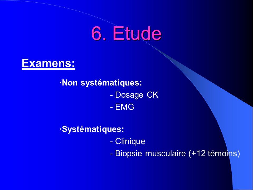 6. Etude Examens: ·Non systématiques: - Dosage CK - EMG
