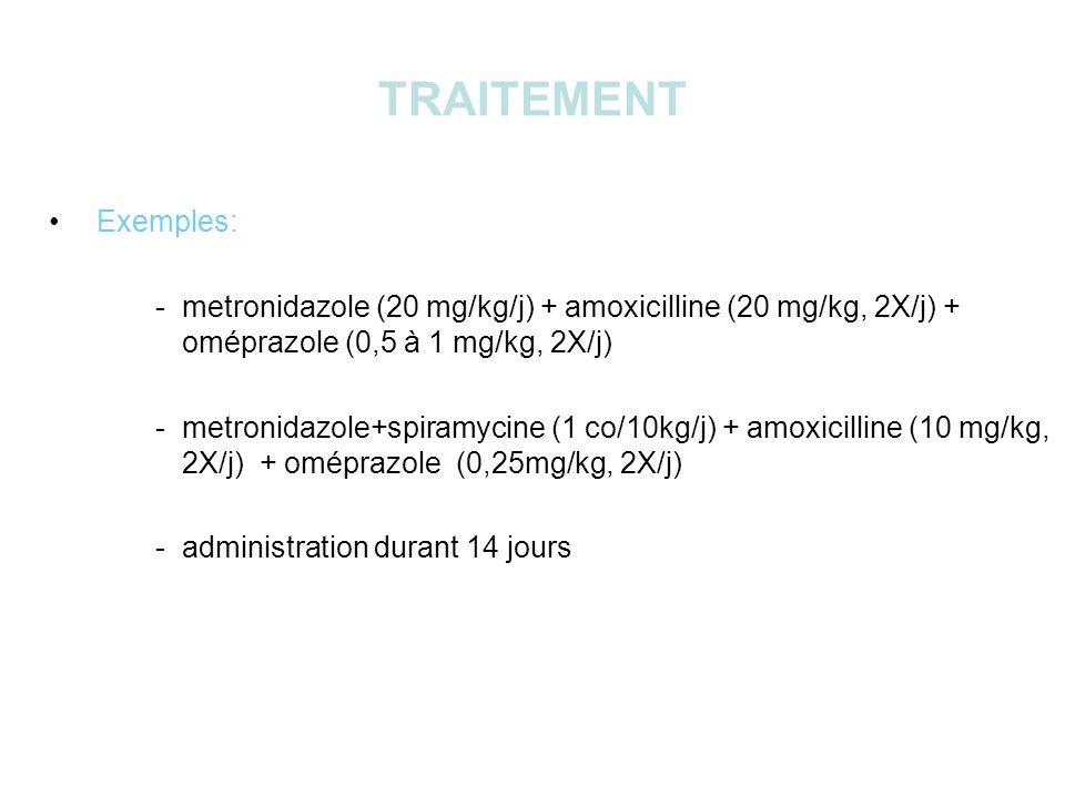 TRAITEMENT Exemples: - metronidazole (20 mg/kg/j) + amoxicilline (20 mg/kg, 2X/j) + oméprazole (0,5 à 1 mg/kg, 2X/j)