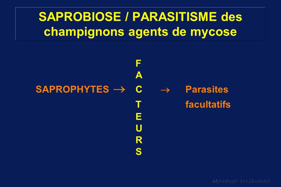 SAPROBIOSE / PARASITISME des champignons agents de mycose
