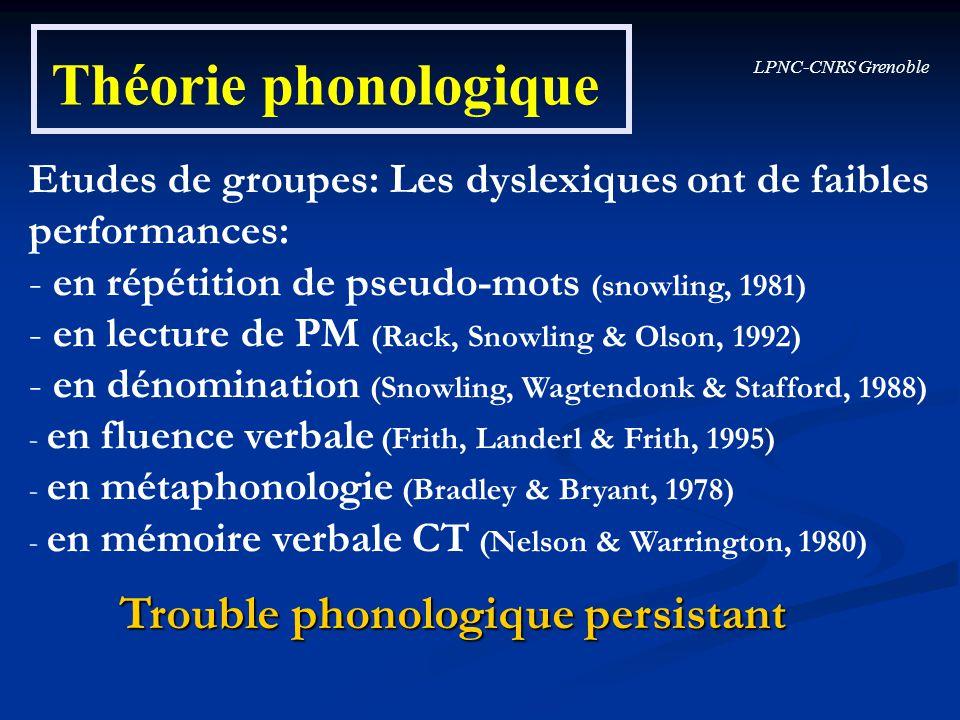 Théorie phonologique Trouble phonologique persistant