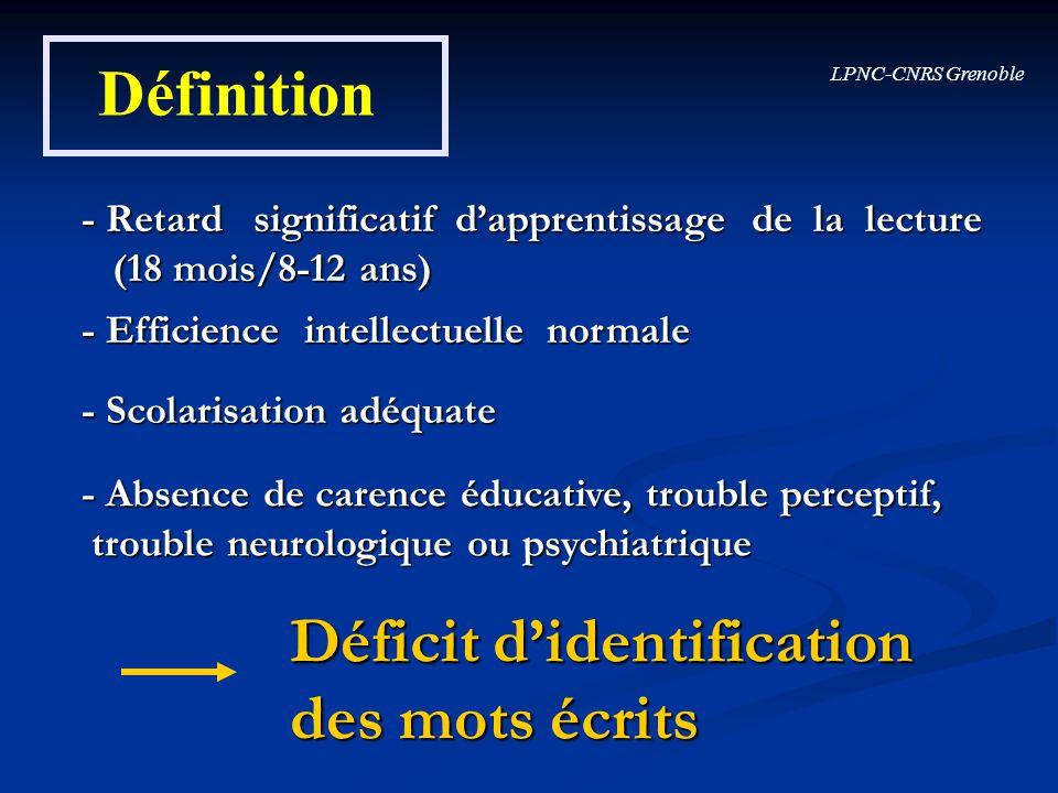 Déficit d'identification des mots écrits