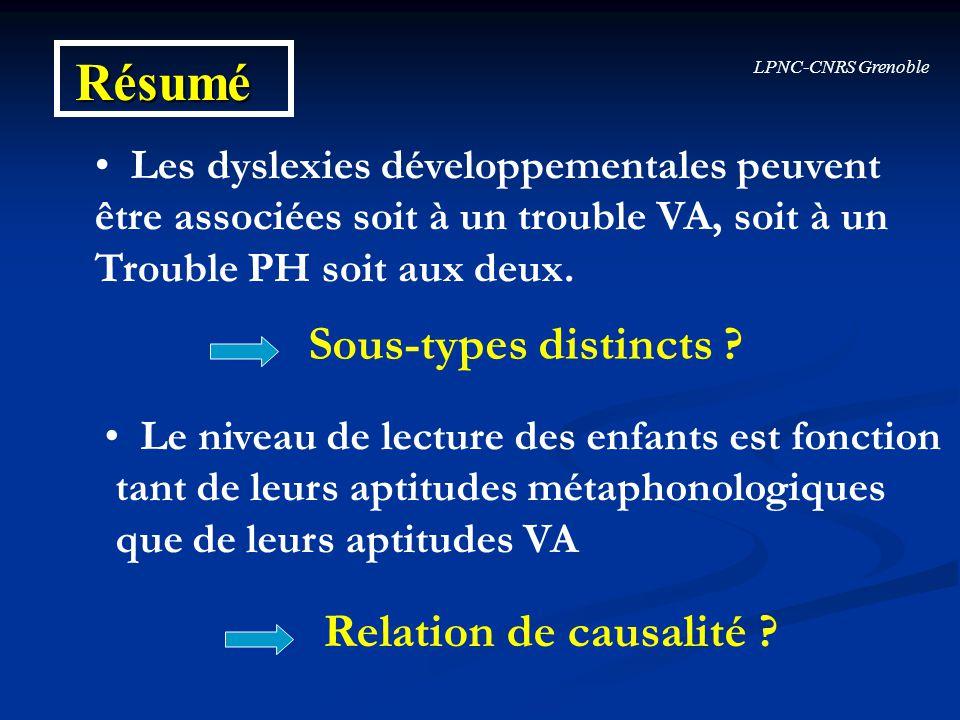 Résumé Sous-types distincts Relation de causalité