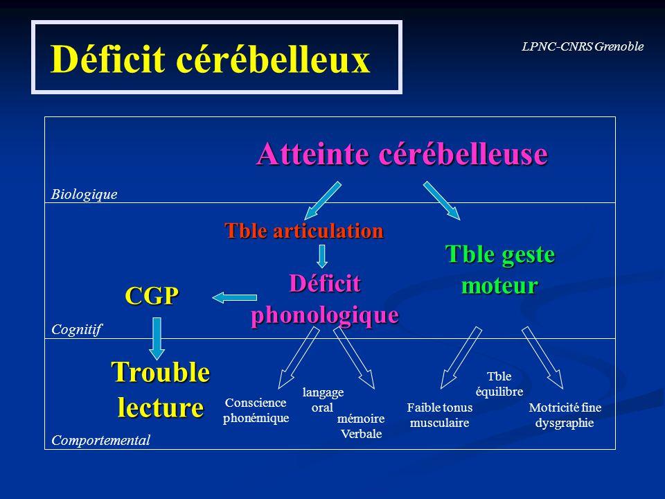 Déficit cérébelleux Atteinte cérébelleuse Trouble lecture Tble geste