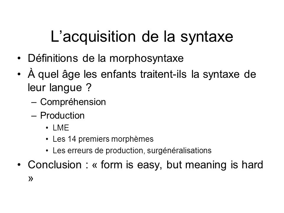 L'acquisition de la syntaxe