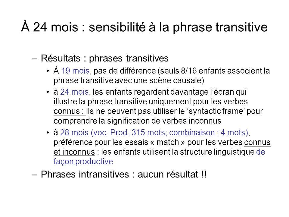 À 24 mois : sensibilité à la phrase transitive