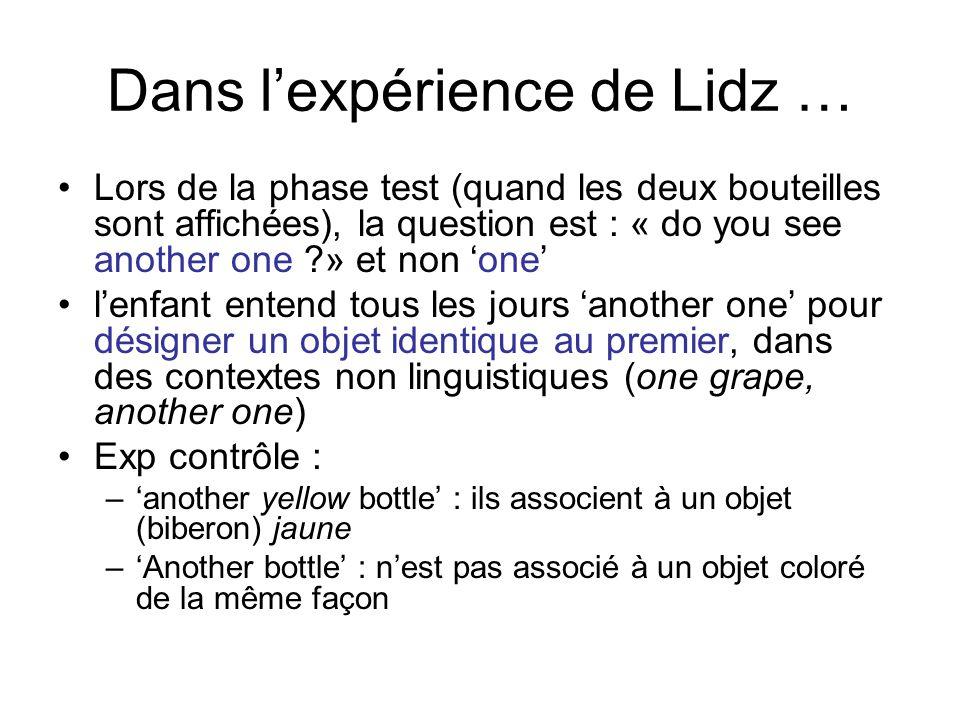 Dans l'expérience de Lidz …