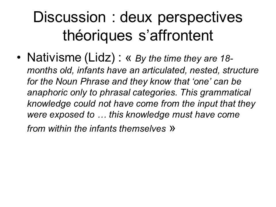 Discussion : deux perspectives théoriques s'affrontent